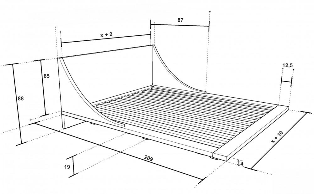 Rozměry postele Russ