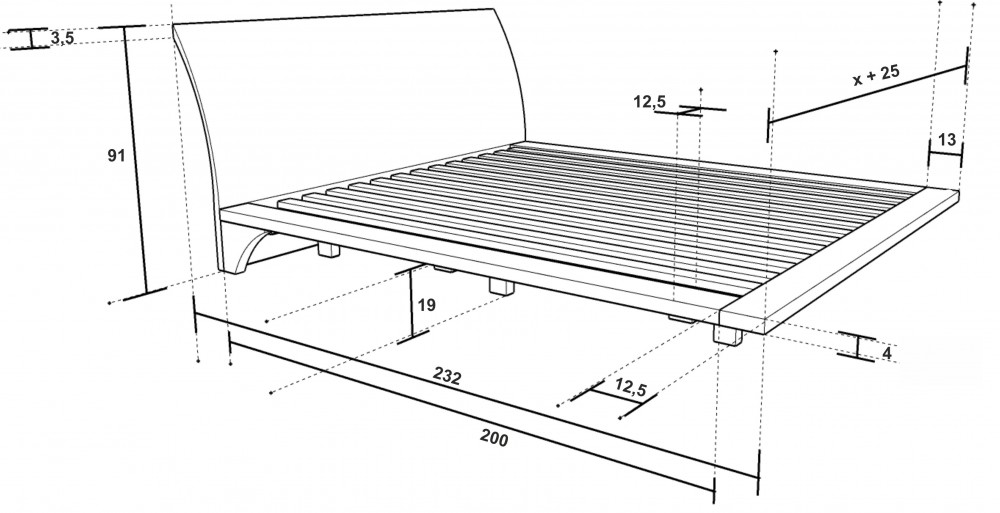 Rozměry postele Ray